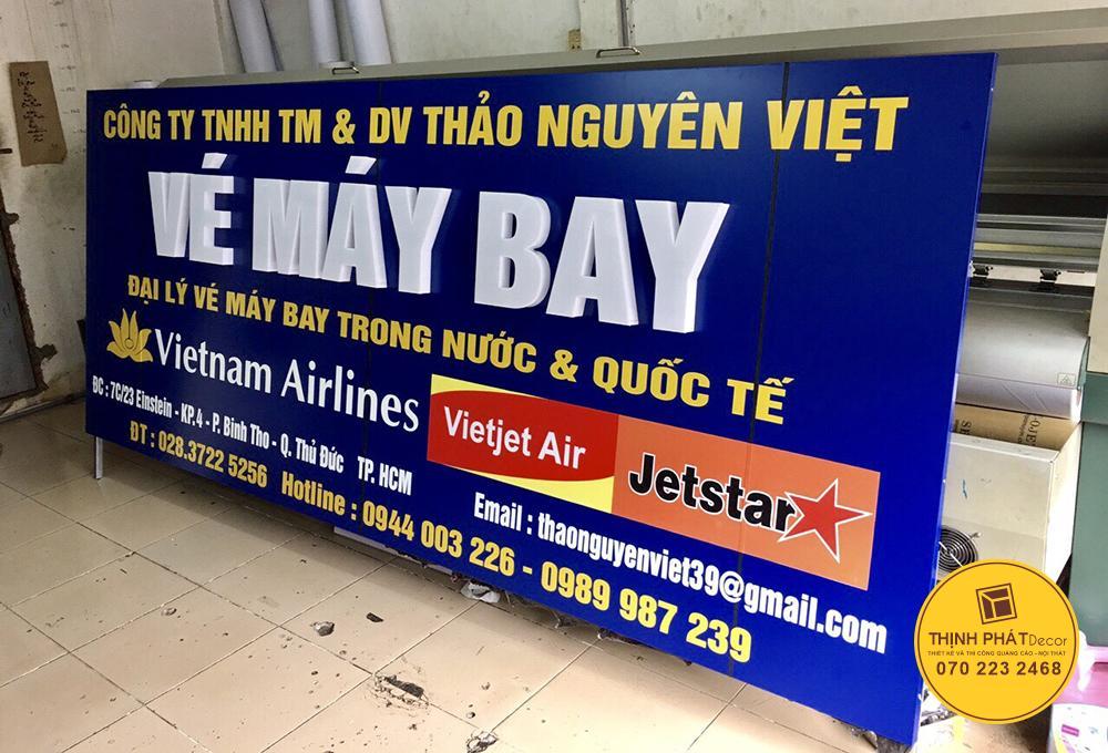 Lảng bảng hiệu phòng bán vé máy bay giá rẻ TP Thủ Đức